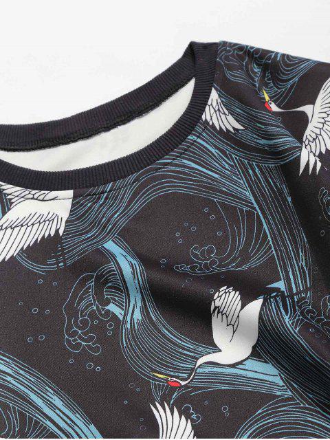 unique Crew Neck Birds Graphic Sweatshirt - SILK BLUE 3XL Mobile