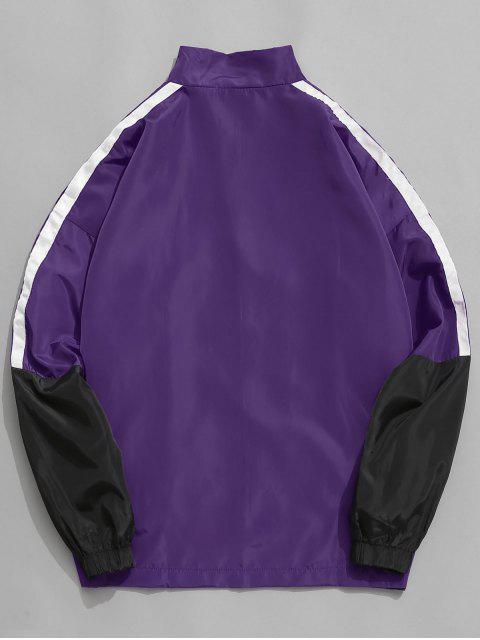 women's Graphic Side Striped Windbreaker Jacket - PURPLE 2XL Mobile