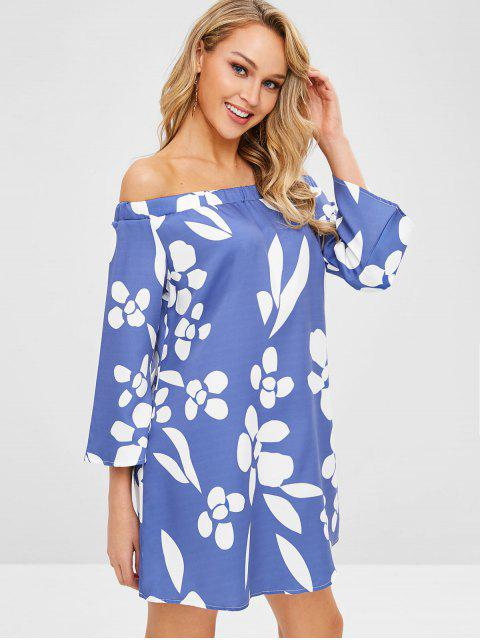 trendy Off Shoulder Floral Print Shift Dress - SKY BLUE M Mobile