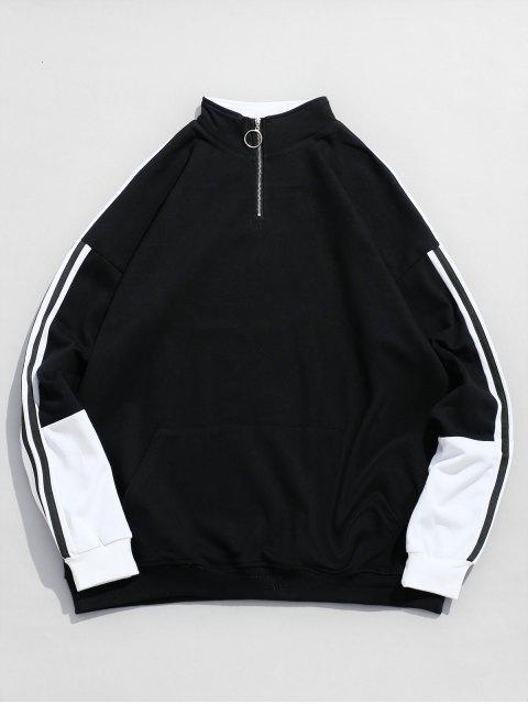Sweat-shirt en Blocs de Couleurs à Rayure Latérale - Noir XL Mobile