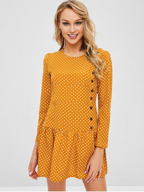 buy Mini Polka Dot Flounce Dress - BEE YELLOW L Mobile