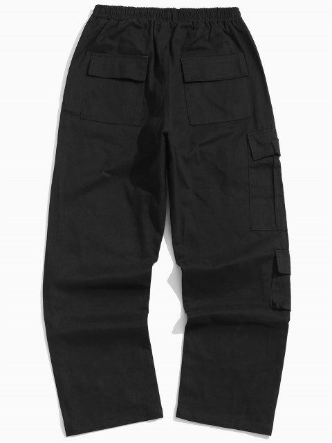 chic Letter Flap Pockets Casual Pants - BLACK XL Mobile