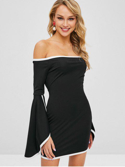 fancy Flare Sleeves Piping Bodycon Dress - BLACK XL Mobile