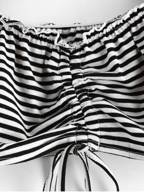 T-shirt Rayé Plissé à Epaule Dénudée - Noir L Mobile