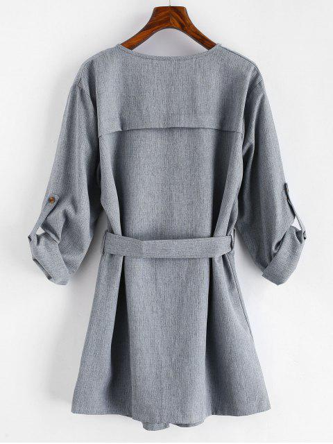 Manteau Simple Ceinturé Drapé - Gris XL Mobile