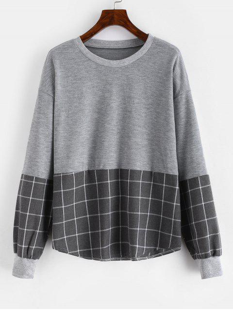 shop Drop Shoulder Loose Checkered Sweatshirt - GRAY L Mobile