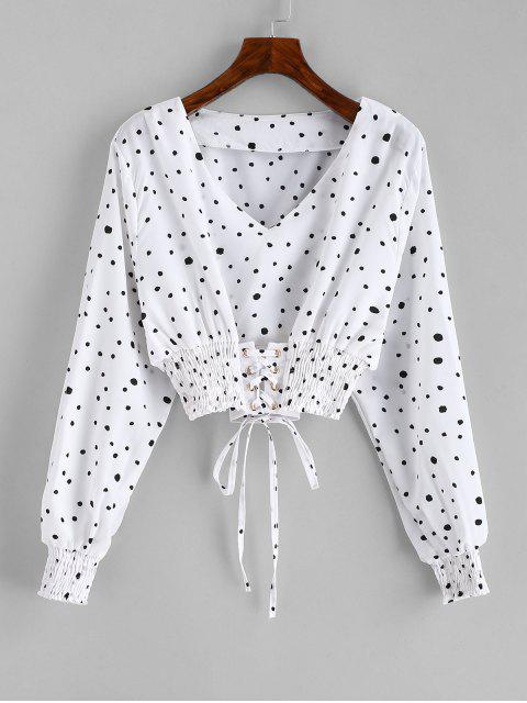 new Smocked Lace Up Polka Dot Crop Blouse - WHITE XL Mobile