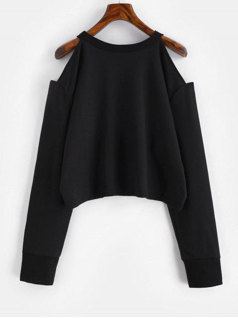 Sweat-shirt Graphique à Epaule Dénudée - Noir M Mobile