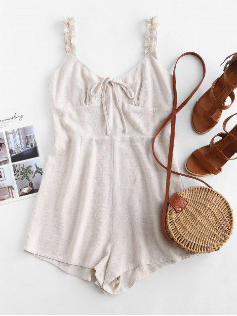 outfit ZAFUL Frilled Strap Bow Cute Romper - WARM WHITE M Mobile