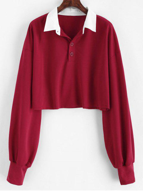 lady ZAFUL Cropped Half Buttoned Sweatshirt - RED WINE S Mobile
