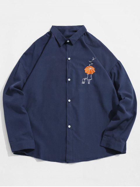 buy Umbrella Embroidered Button Fly Shirt - CADETBLUE 3XL Mobile