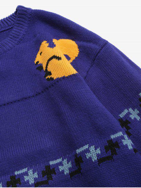 unique Squirrel Pattern Knit Sweater - BLUE M Mobile