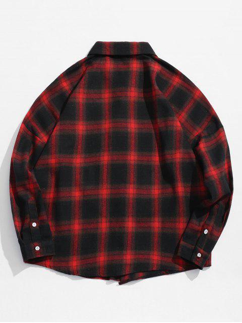 shops Drop Shoulder Plaid Shirt with Pocket - RED M Mobile
