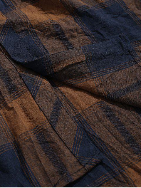 sale Double Pockets Drop Shoulder Plaid Shirt - COFFEE XL Mobile