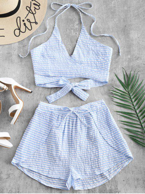 women's Striped Wrap Top and Loose Shorts Set - LIGHT SKY BLUE M Mobile