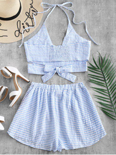 trendy Striped Wrap Top and Loose Shorts Set - LIGHT SKY BLUE S Mobile