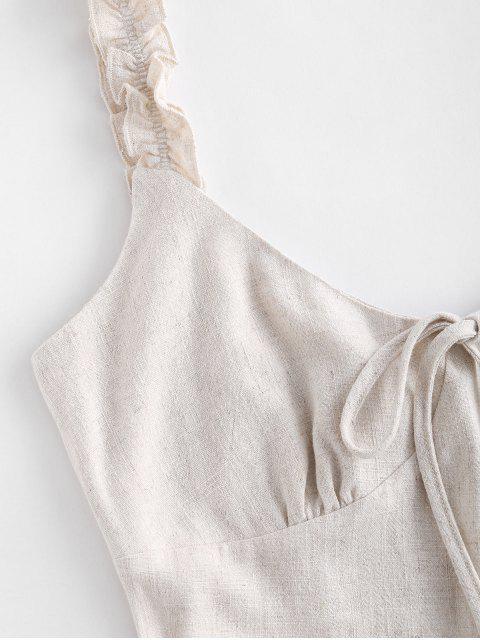 women's ZAFUL Frilled Strap Bow Cute Romper - WARM WHITE S Mobile