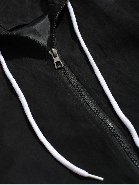 Veste Lettre Contrastée À Manches Raglan - Noir M Mobile