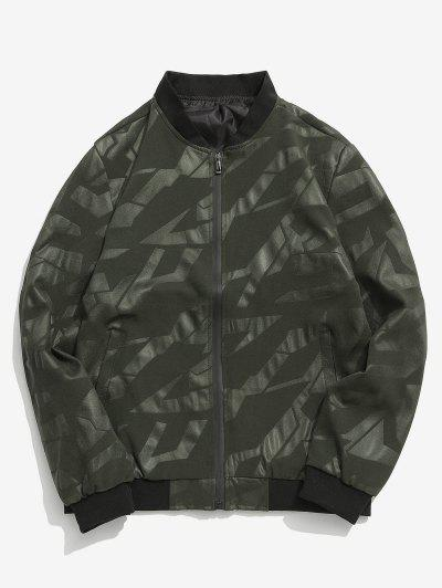 Simple Zipper Placket Baseball Jacket - Army Green Xs