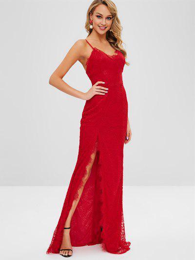 Vestido De Renda Com Cinta De Espaguete Alta Fenda - Vermelho L