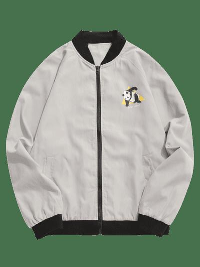 Panda Graphic Bomber Jacket, Light gray