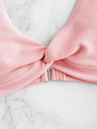 Low Rise Textured Twist Bikini Set, Pink