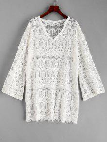 فستان الدانتيل التستر - أبيض