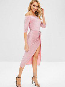 4d6700bcbd6 31% OFF  2019 Glitter Off Shoulder Slit Cocktail Dress In PINK