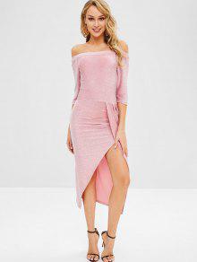 4d6700bcbd6 31% OFF  2019 Glitter Off Shoulder Slit Cocktail Dress In PINK