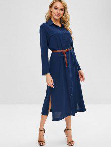 فستان بحمالات عريضة - ازرق غامق S