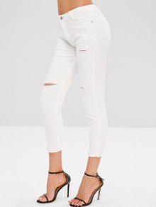 جينز مزموم - أبيض Xl