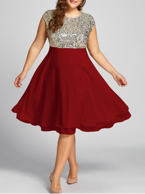 ترتدي زائد حجم الترتر فستان كوكتيل سباركلي - أحمر 5XL