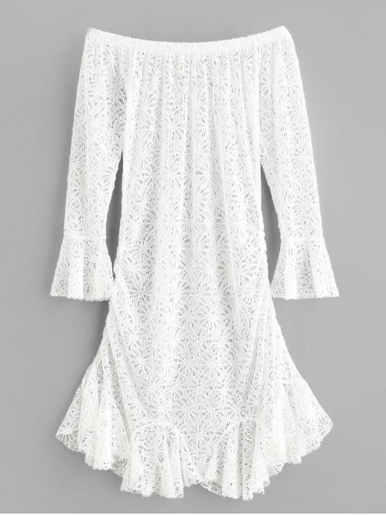 fancy Off Shoulder Flower Crochet Mermaid Dress - WHITE ONE SIZE