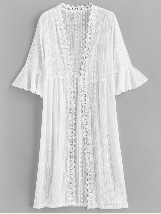 unique Floral Lace Bell Sleeve Longline Cover Up - WHITE ONE SIZE