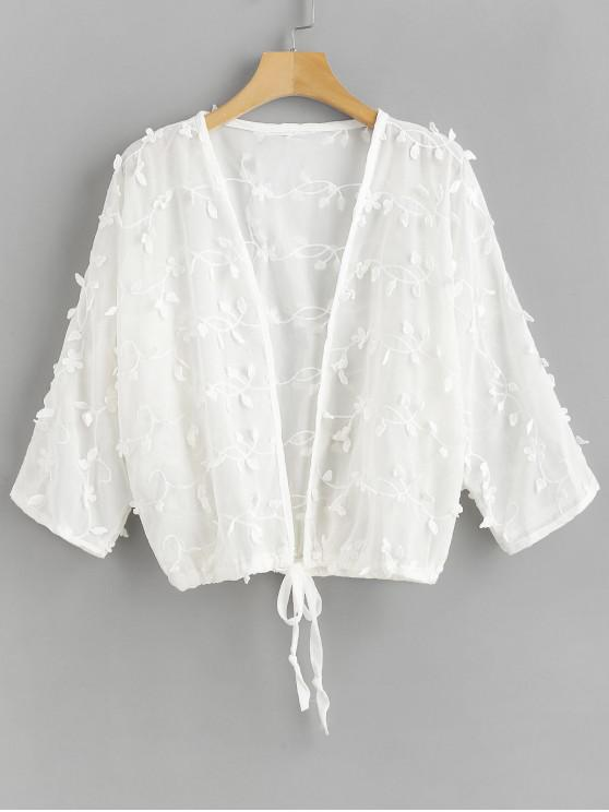 fashion Flower Drawstring Hem Beach Cover Up - WHITE ONE SIZE
