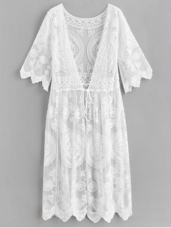latest Crochet Tie Front Longline Cover Up - WHITE ONE SIZE