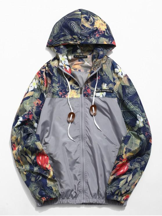 affordable Floral Printed Patchwork Hooded Jacket - GRAY CLOUD XS