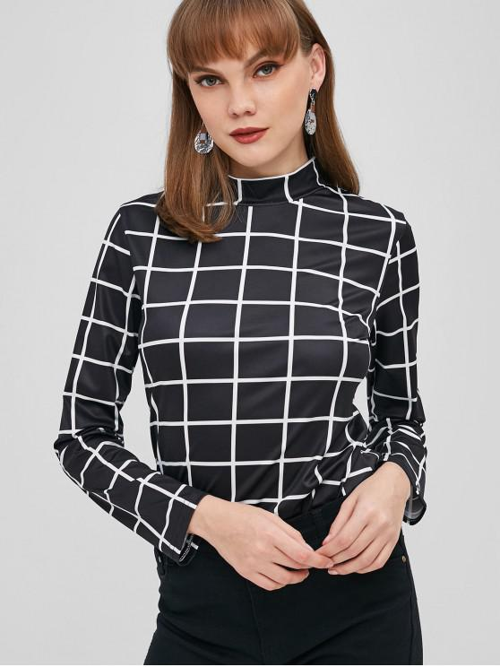 outfits ZAFUL Mock Neck Checkered Tee - BLACK S
