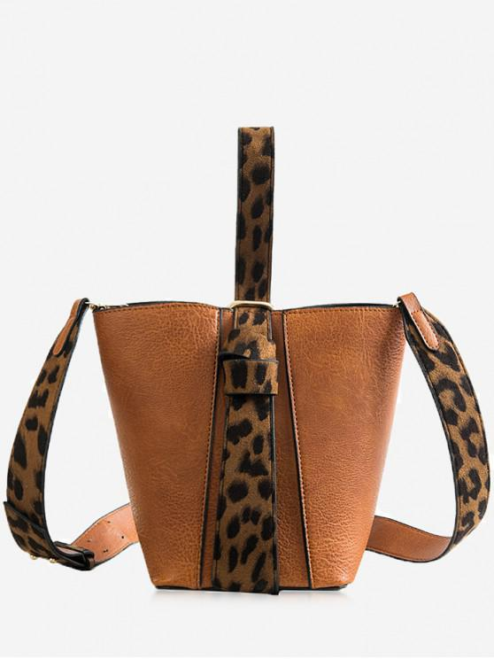 lady Leopard Pattern Belt Single Shoulder Bucket Bags Set - LIGHT BROWN