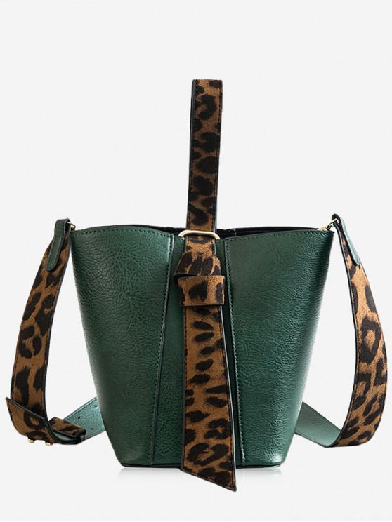 8b7045602e0d Leopard Pattern Belt Single Shoulder Bucket Bags Set - Dark Forest Green