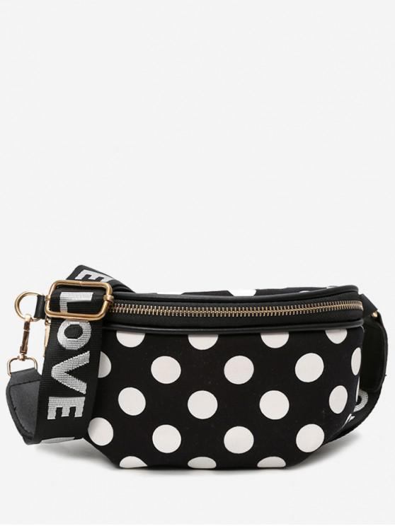 shop Polka Dot Wide Strap Crossbody Bag - BLACK