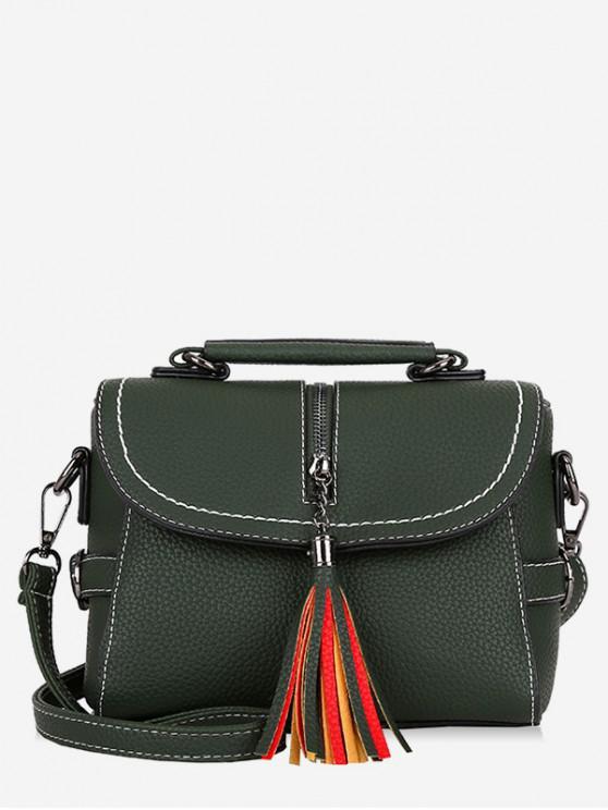 Tassel Leather Lichee Shading Handbag - الجيش الأخضر