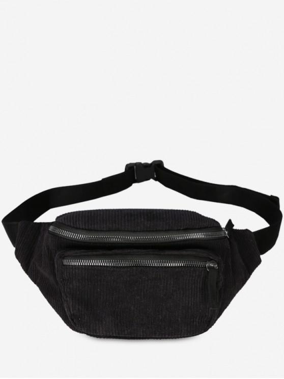 outfits Retro Corduroy Portable Fanny Pack - BLACK