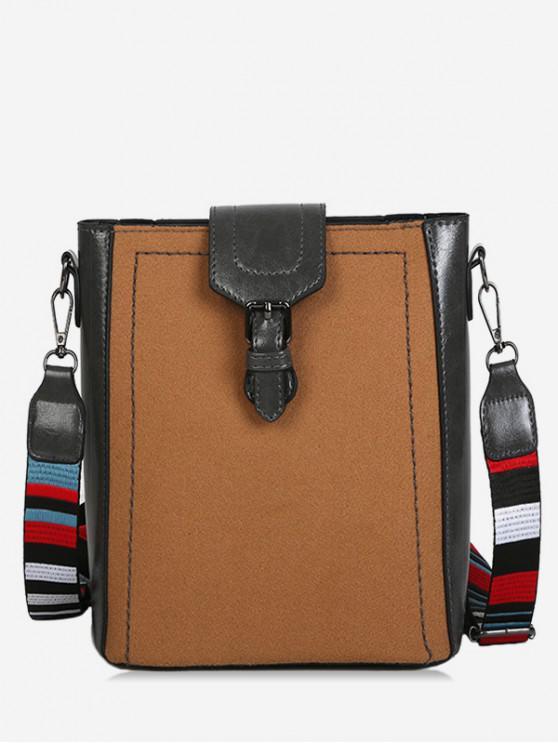 outfits Buckled Stripe Wide Strap Shoulder Bag - CARAMEL
