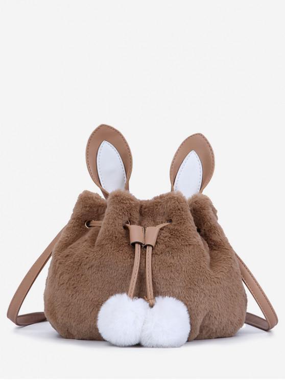 Rabbit Pattern Fuzzy Shoulder Bag - قهوة