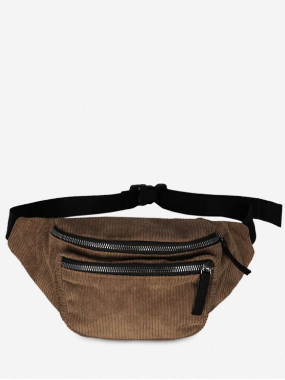 online Retro Corduroy Portable Fanny Pack - BROWN