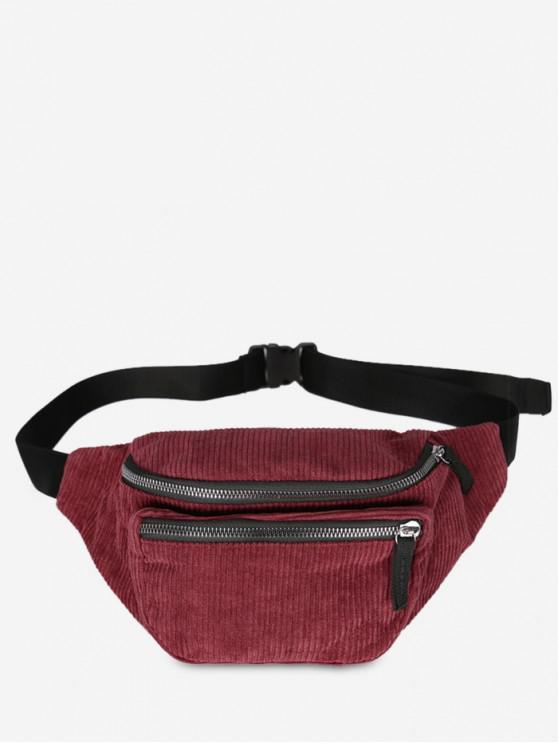 Vintage Corduroy Portable Fanny Pack - أحمر