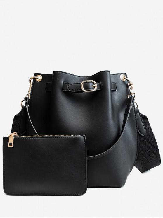 Solid 2 Piece Bucket Bag Set - أسود