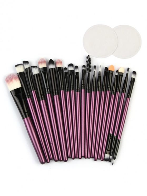 Eye Lip Makeup Brushes with Cotton Pads - الأرجواني القزحية
