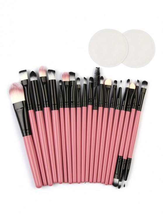 Pinceaux de Maquillage pour les Yeux avec Tampons de Maquillage en Coton - Rose Vif